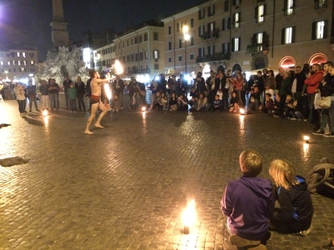 Fire dancer in Piazza Navona