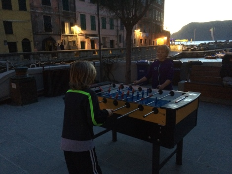 Evening foosball in the Vernazza piazza