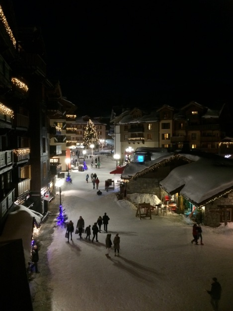 View of the Les Arcs 1950 village from our balcony