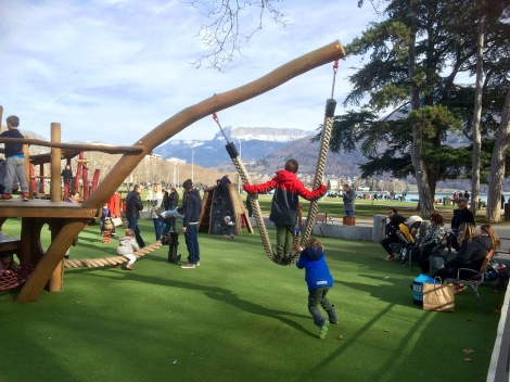 Lakeside/canalside playground in Annecy