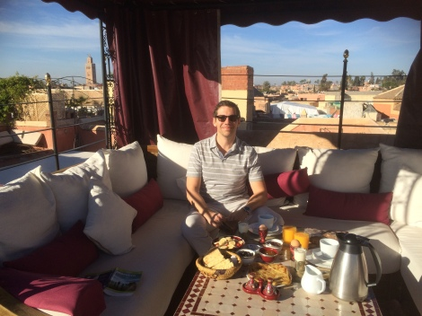 Breakfast on the riad's rooftop terrace