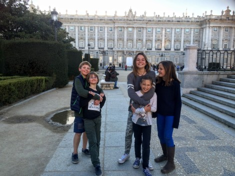 Our kids & their kids having a great time together (after some hide & seek in the palace gardens)