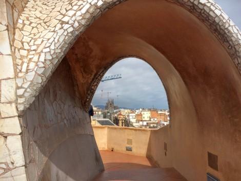 Gaudí's Casa Milá (La Pedrera) - Sagrada Familia in the distance