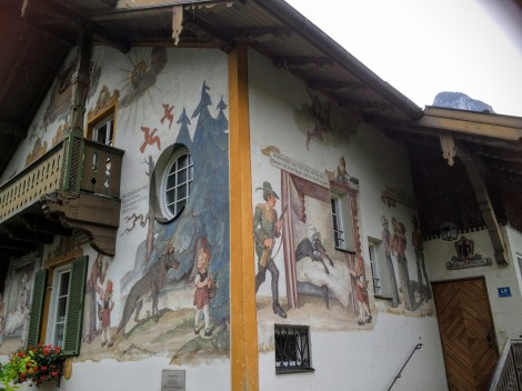 Cute fairy-tale-painted houses in Oberammergau, Germany.