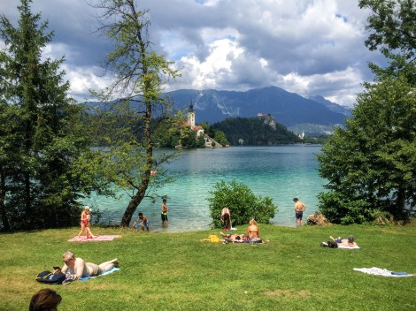 Everyone has fun in Lake Bled - swimming, boating, paddle boarding.